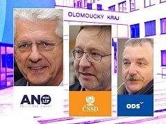 Koalice pro vládu Olomouckého kraje: zleva Oto Košta - lídr ANO, Jiří Zemánek - lídr ČSSD, Dalibor Horák - lídr ODS