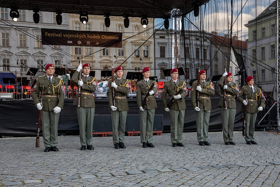 V centru města se uskutečnil festival vojenských hudeb, 27. srpna 2021 v Olomouci.