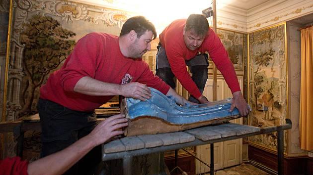 Oprava historických barokních kamen z baziliky Navštívení Panny Marie na Svatém Kopečku