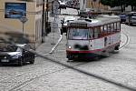 Tramvaj v Sokolské ulici v Olomouci.