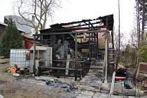 Požár chatky na Nové Ulici v Olomouci