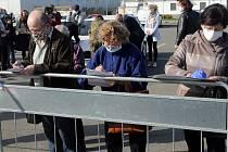 Odběrové místo na plošné koronavirové testy v Litovli