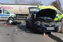 Tragická srážka auta s motorkou v Hodolanské ulici v Olomouci, 25. března 2021