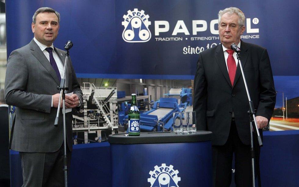 Prezident Zeman v litovelské firmě Papcel v březnu 2014