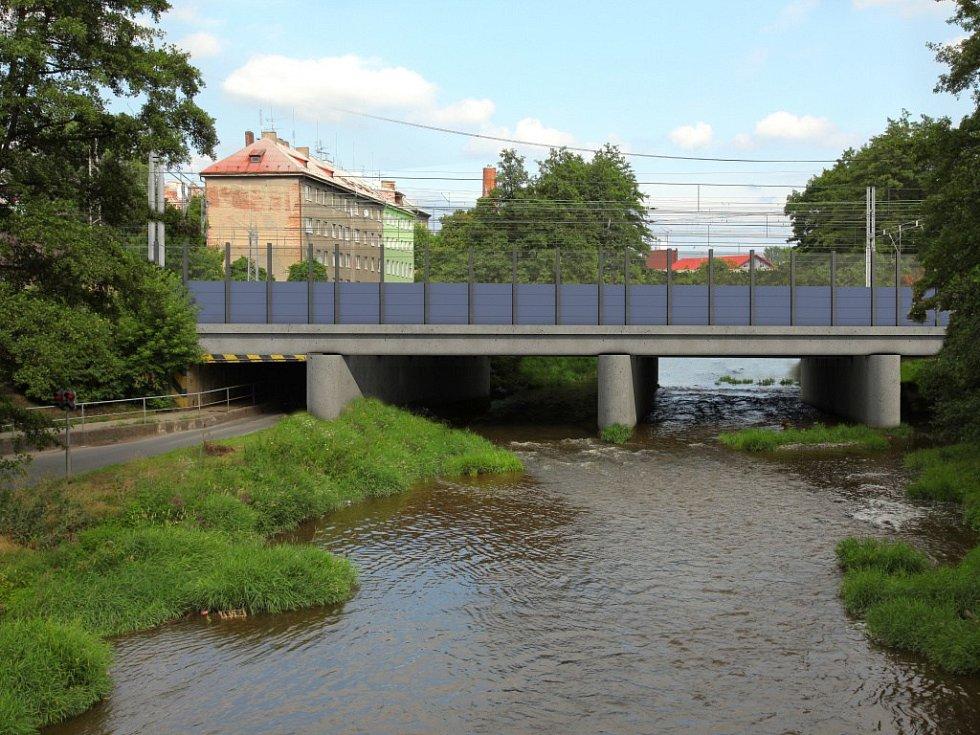 Vizualizace přestavby Železniční stanice Olomouc - Součástí projektu jsou také protihluková opatření. Na vizualizaci je část protihlukové stěny na mostu přes řeku Bystřici