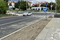Křižovatka třídy Míru a Neředínské ulice v Olomouci, 20. srpna 2021