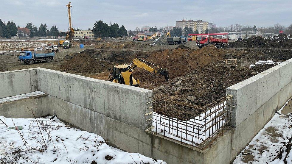 Stavba Kauflandu v Hněvotínské ulici v Olomouci, 21. ledna 2021