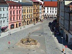 Část Dolního náměstí v Olomouci s Neptunovou kašnou