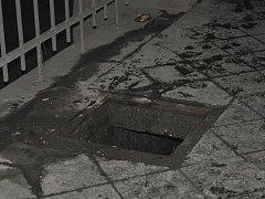 Hasiči zachraňovali psa, který spadl do kanálu