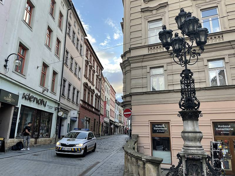Ztracená ulice, křižovatka s ulicí Denisova. 13. října 2021