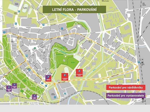 Návštěvníkům jsou prioritně určeny omezené kapacitní prostory parkoviště vareálu vysokoškolských kolejí uPřírodovědecké a Právnické fakulty Univerzity Palackého, naproti Rozáriu. Největší parkovací plochou pro návštěvníky bude parkoviště uSokola, ploch