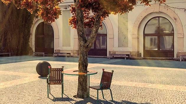 Vizualizace Lavičky Vácvava Havla na nádvoří Zbrojnice v Olomouci