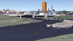 Simulace pozměněného výškáče Šantovka Tower v olomouckém panoramatu na webu sdružení Za krásnou Olomouc. Investor novou podobu zatím nezveřejnil.
