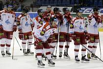 Olomoučtí hokejisté (v bílém) podlehli Plzni 1:3.