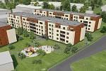 Byty Šibeník. Vizualizace projektu 180 bytů na místě bývalého podniku AOZ v Olomouci
