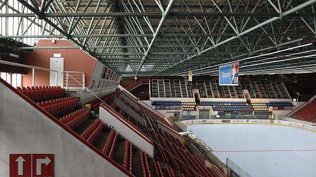 Začala rekonstrukce střechy Zimního stadionu v Olomouci, 5. 5. 2021