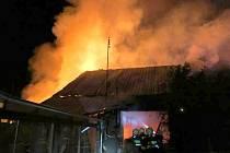 Požár stolařské dílny v Dubu nad Moravou