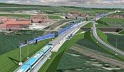 Vizualizace modernizace trati Přerov - Brno. Holubice