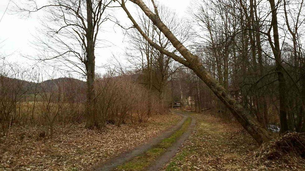 Následky silného větru 27. prosince 2017 v Olomouckém kraji