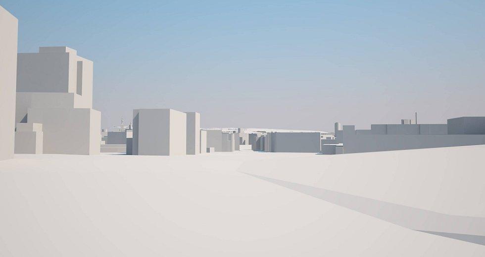 Pohled od vjezdu do fakultní nemocnice v Hněvotínské ulicii. Šantovka Tower na modelu Klubu architektů Olomoucka: