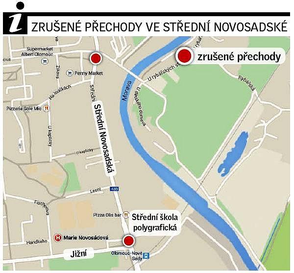 Zrušené přechody na Střední novosadské vOlomouci