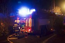 Požár střechy stodoly ve Šternberku, místní části Světlov.