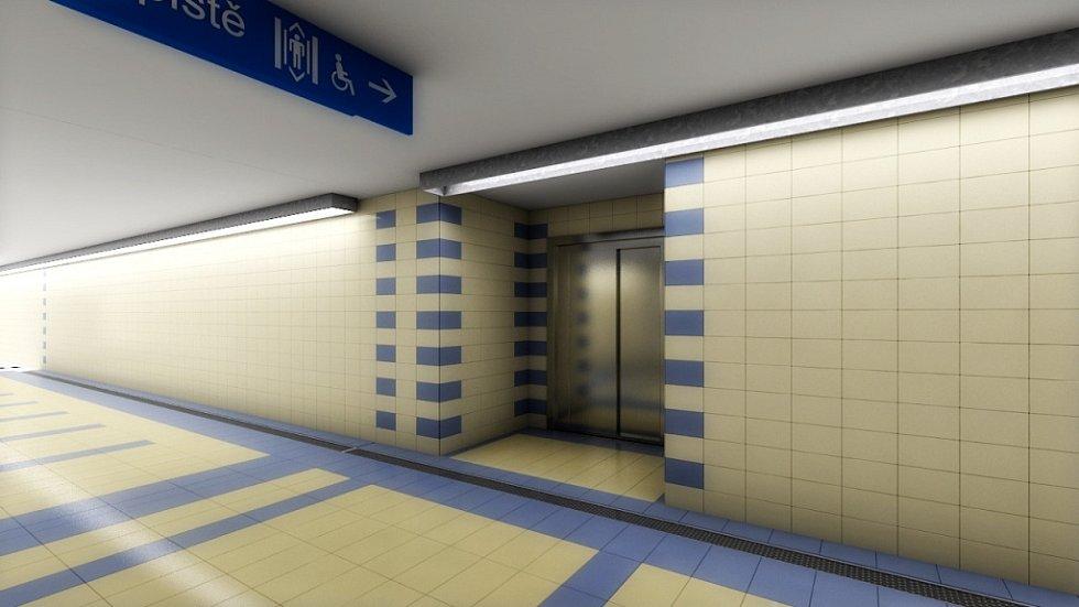 Vizualizace přestavby Železniční stanice Olomouc - Opravy se dočká starý podchod z výpravní budovy k perónům