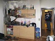 Požár v kuchyni ve Voskovcově ulici v Olomouci