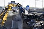 Demolice dálničního mostu v Prostějově, 10. dubna 2021