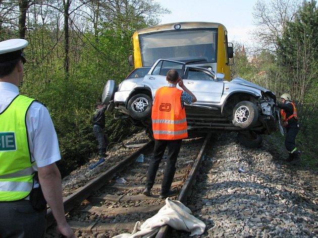 Tragická srážka vlaku s autem v Hlubočkách