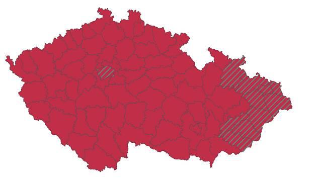 Aktualizovaný semafor. Olomoucký kraj byl přeřazen do červené - třetí stupeň pohotovosti.
