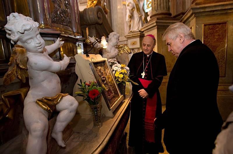 Prezidentská návštěva poutní baziliky na Svatém Kopečku u Olomouce v roce 2014