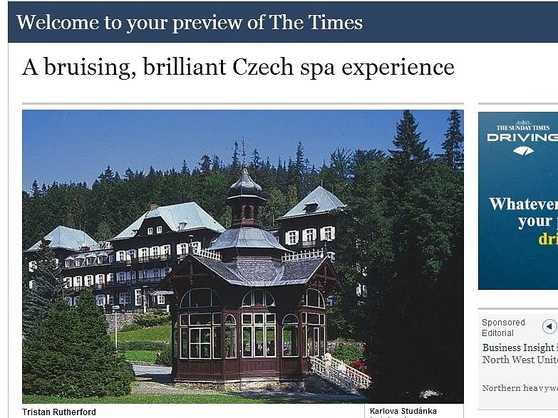 Web britských The Times opěvuje lázně v lůně jesenických hor
