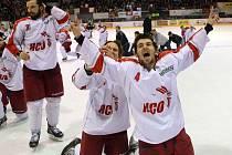 Extraligové oslavy na zimním stadionu v Olomouci