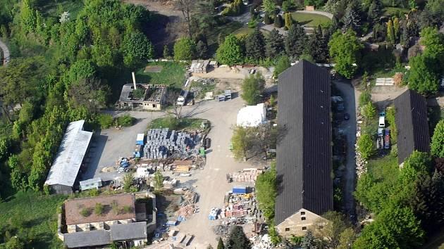 Letecký pohled na Korunní pevnůstku před rekonstrukcí