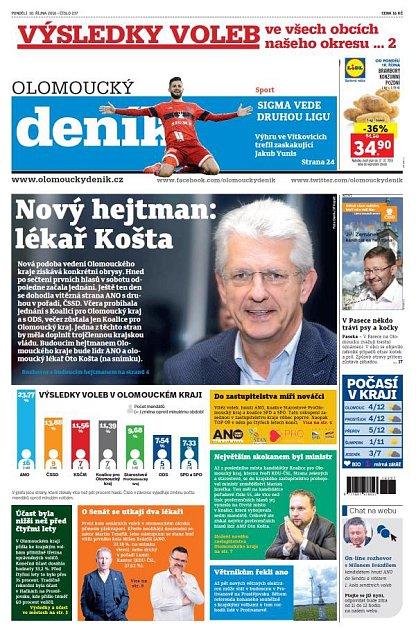 Titulní strana Olomouckého deníku 10.října 2016