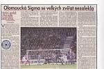 Olomoučtí fotbalisté remizovali v roce 1998 v Poháru UEFA doma s Olympiquem Marseille 2:2. dobový výstřižek