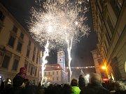Novoroční ohňostroj na Horním náměstí v Olomouci 2019