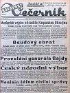 Titulní strana olomouckého Moravského večerníku 16.3. 1939