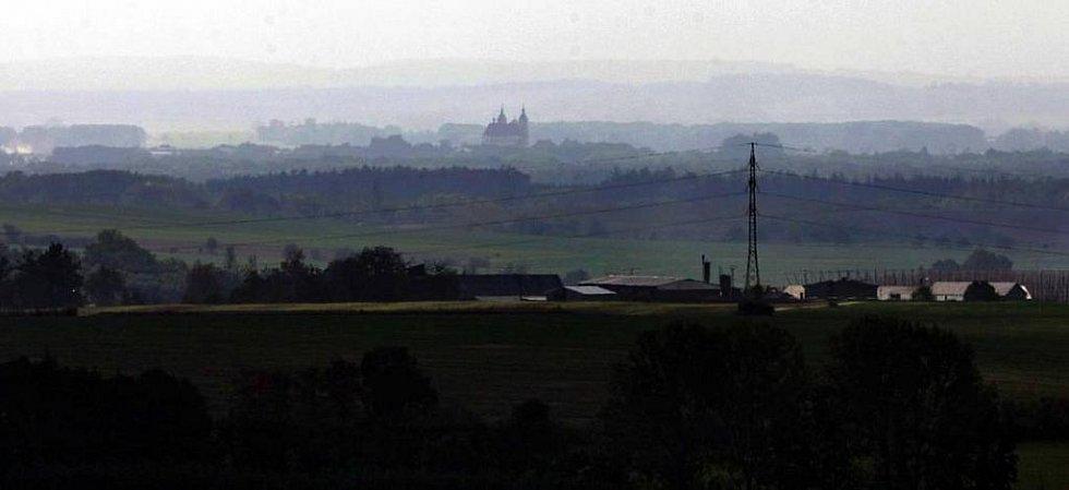 Olomouc z rozhledny v Přáslavicích