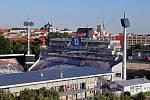 Andrův stadion. Výhled na Olomouc z NH hotelu
