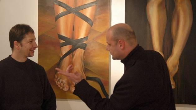 Malíř David Dvorský (vpravo) a fotograf David Dusík.