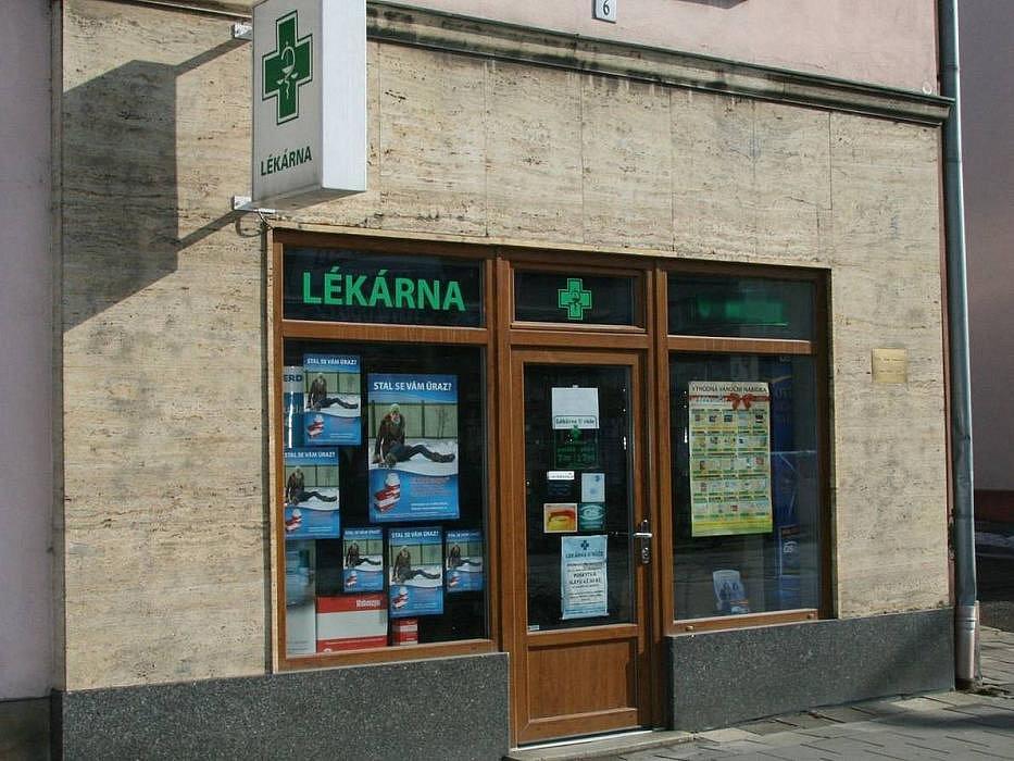 Lékárna v Hodolanské ulici v Olomouci, kam si pro surovinu na výrobu pervitinu chodili uživatelé a vařiči pervitinu z celého města