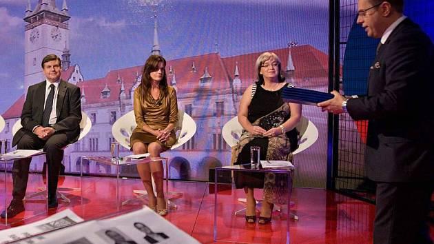 Otázky Václava Moravce s lídry stran pro krajské volby Olomouci