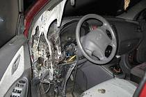 Požár auta v Uničově