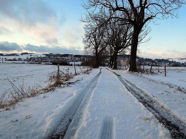 Sníh ve vyšších partiích Olomoucka - u Moravského Berouna