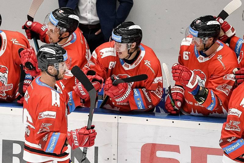 Utkání 1. kola hokejové extraligy: HC Olomouc - BK Mladá Boleslav, 10. září 2021 v Olomouci. (vlevo) David Krejčí z Olomouce oslavuje gól.