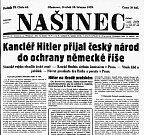 Titulní strana olomouckého Našince 16. března 1939