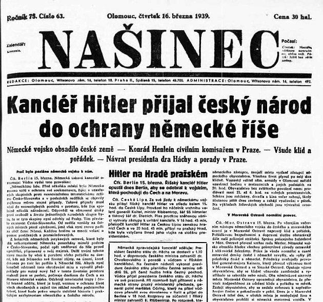 Titulní strana olomouckého Našince 16.března 1939