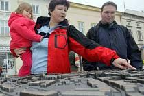 Plastický model města na uničovském náměstí